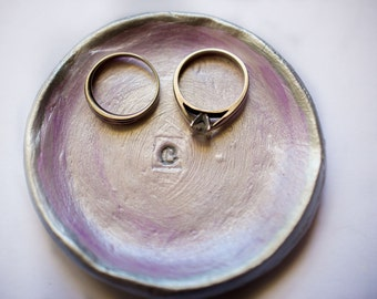 initial ring dish; letter C ring dish; small circle ring dish; clay ring dish; jewelry holder