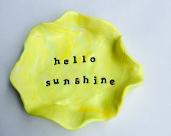 Trinket dish miniature hand sculpted ring bowl hand stamped yellows and white hello sunshine