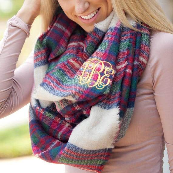 Londyn Infinity Scarf in Green and Pink Plaid