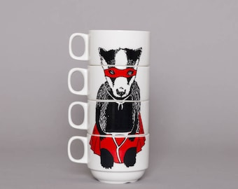 Set of 4 Coffee cups - Super Badger