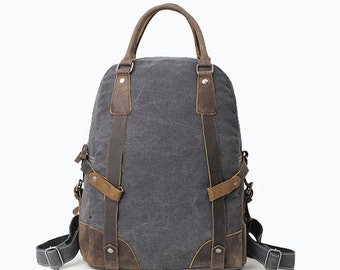 Vintage style Military Leather Canvas Backpack (Grey)