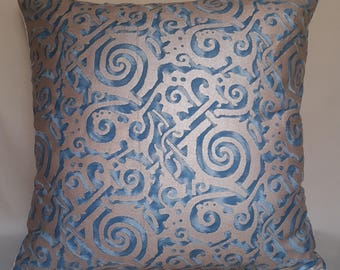 Fortuny Fabric Throw Pillow Cushion Cover Blue & Silvery Gold Maori Pattern - Made in Italy