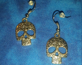 Floral Sugar Skull Earrings- Tibetan Silver
