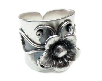 Sterling Silver Wide Band Flower Statement Ring, Handmade Hippie Boho ring with a flower, Large Adjustable Cuff Ring, Gift for Her