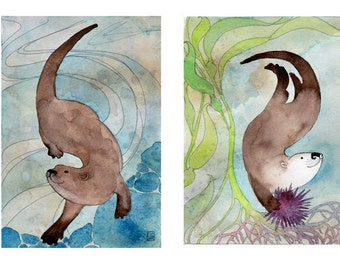 Otters - 5x7 print set