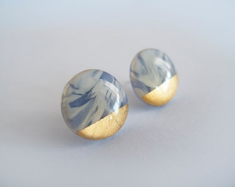 Large White and Blue Gray with 23k Gold  Round Stud Earrings - Surgical Steel Posts
