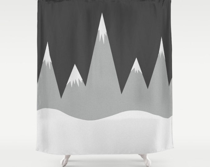 Mountain Peaks Shower Curtain - Gray and Black Bathroom Decor - Made to Order