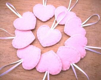 10 leichte rosa Herz Ornamente, rosa Valentinstag Dekorationen, Mädchen-Baby-Dusche-Dekor, blass rosa Hochzeit Herzen, St. Valentines Day party