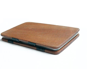 Magic wood wallet, wood wallet, magic wallet, wood card holder, slim wallet, thin wallet, christmas gift, birthday gift, father's day