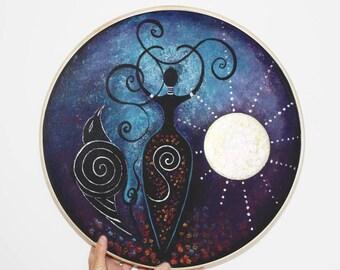 Shamanic Drum - Moon Goddess. Spiritual Art