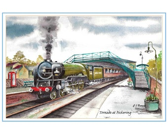 Steam Locomotive Watercolour - Tornado at Pickering Station