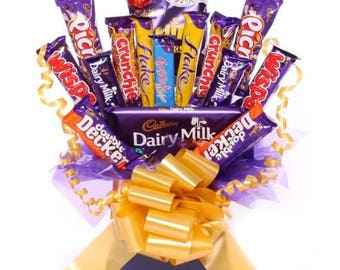 Cadbury Chocolate Bouquet, Sweet Hamper Bouquet, Cadbury Chocolate Bars Bouquet, Ideal Gift For Many Occasions, Next Day Delivery Available.