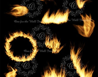 Fire overlays. 10 varieties on a transparent background (png file) flame, ring of fire