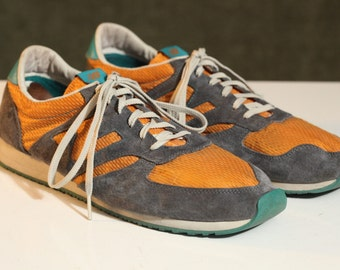 Vintage New Balance MEN'S Running SHOES Gray 420 Gray Orange Turquoise Corduroy