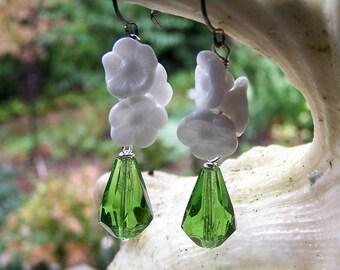 Glass Flower Earrings || Green Czech Glass Drops | White Flowers | Nature Lover | Earthy | Organic | Wedding Jewelry | Earrings Under 20
