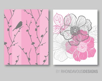 Abstract Floral and Bird Duo. - Home. Decor. Nursery. Bedroom. Bed. Bath. Girl - Shown in Pink, Gray and White - You Pick the Size (NS-417)