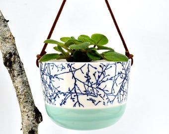 Hanging planter - medium - color green - blue tree Branches