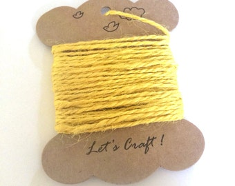 jute twine - 5 meters or 5.4 yards - craft gift wrapping twine - color hemp string - tag string - jute rope - burlap string - yellow color