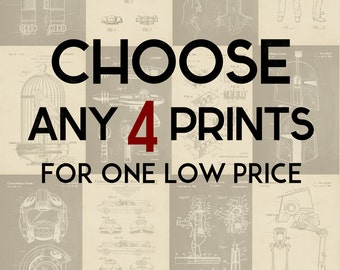 Choose Any 4 Prints - Patent Print Poster Wall Decor - 4000