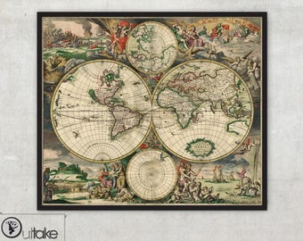 Double hemispheres - Historical world maps (1689) - Ancient wold maps - Archival Fine Art print - 023