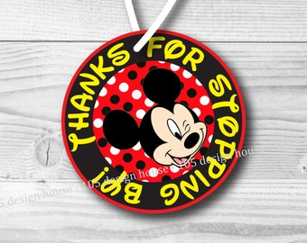 INSTANT DOWNLOAD Mickey Mouse Favor Tag Printable 3 inch Favor Tags