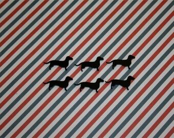 6x laser cut acrylic weenie dog (dachshund) cabochons