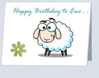 Happy Birthday To EWE card UK stick on flower Sheep greeting cards with embellishments flowers Birthdays card for boyfriend Card girlfriend