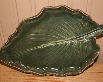 Large handmade pottery serving platter, green leaf