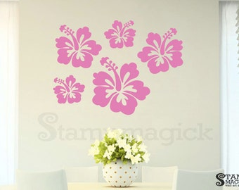 Hibiscus Wall Decal - Hawaiian Tropical Flower Vinyl Wall Decal Graphics - Wall Mural Home Wall Decor Graphics - K310