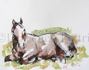 Horse watercolor painting - lying HORSE Original WATERCOLOR - Sketch