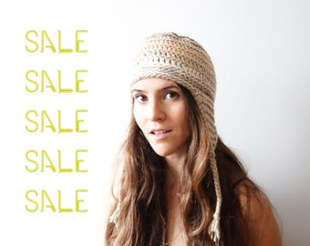 CLOSE OUT Sale - Hike Hat, Mens Crochet Beanie, Stoner accessory, Womens crochet hat, merino wool yarn, shades of peach