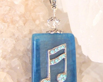 MUSIC NOTES NECKLACE Blue Agate Pendant, Swarovski Crystals Music Gift, Music Graduate Gift, Music Necklace Music Teacher Gift Music Student
