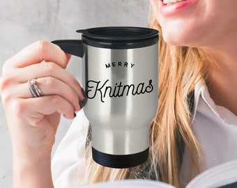 Knitting Mug - Gift For Knitter - Merry Knitmas Travel Mug