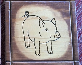 Wood Art,Animal Art,Animal Wall Art,Pig Plaque,Pig Art,Cottage Art,Cottage Chic Art,Farm Art,Country Chic,Farm Wood Art,Farm Kitchen,Piggy