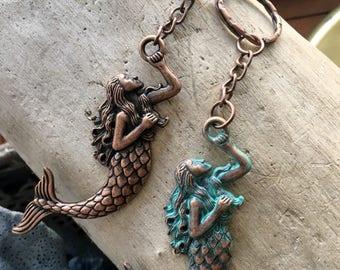 Mermaid Gift- Mermaid Keychain, Womans, Key Chain, Beach Keychain, Mermaid, Patina Mermaid, Gift for, Her, Beach House Key, Wife