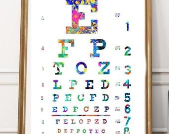 Eye Chart Print, Eye Chart, Eye Chart Art, Watercolor Eye chart, Eye Chart PRINTABLE,, Medical Art, Eye Doctor Gift, Eye chart poster, Eye