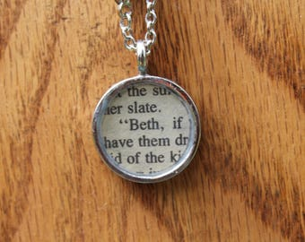 Beth March - Louisa May Alcott Book Page Necklace - Literary Necklace, Literary Jewelry