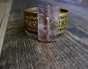Amethyst Jewelry,Ametrine Bracelet,Brass Cuff Bracelet,Ametrine Braclet,Vintage Cuff,Raw Stone Bracelet,February Birthstone,Cuff,Raw Stone