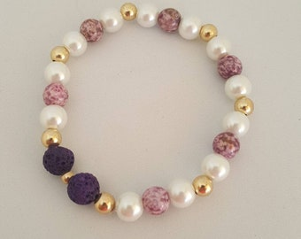 Essential Oil  Bracelet with lava beads to apply oil of your choice