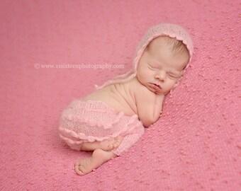 Pink Ruffles Mohair Pants and Hat Set Newborn Photography