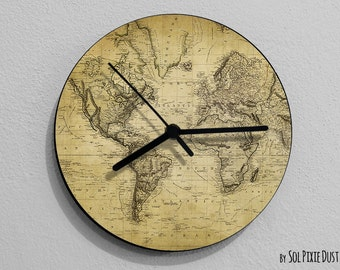 Vintage Old Map Compass - Wall Clock