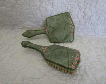 Vintage Vanity Set Mirror and Brush Dresser Set  Green with Painted Flowers