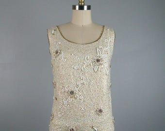 Vintage 1960s White Knit Beaded Top 60s Sparkly Shell Top with sequins and Rhinestones Size 10 Large