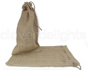 "25 - 6x10 Burlap Bags - Natural Rustic Burlap Bags with Natural Jute Drawstring for Showers Weddings Parties Receptions - 6"" x 10"""