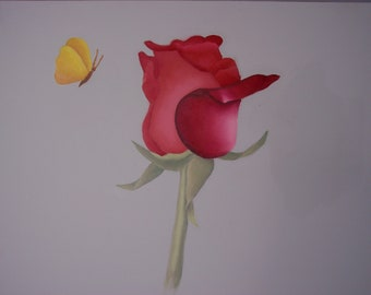 Paint a Red Rose and Yellow Butterfly in oils!