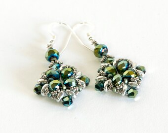 Crystal Earrings - SuperDuo Earrings - Seed Bead Earrings Beadwoven with Blue Green Crystals, Silver SuperDuos and Silver Seed Beads