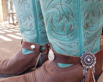 Boot Bling!! Genuine Leather, Conchos, feather charms, Cowboy Boot charms.