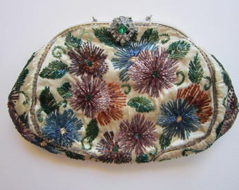 vintage beaded clutch purse - glass bead flowers - rhinestone latch - glass bugle bead flowers - GS Paris New York - as is