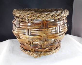 Vintage wicker basket, handmade, brown planter.