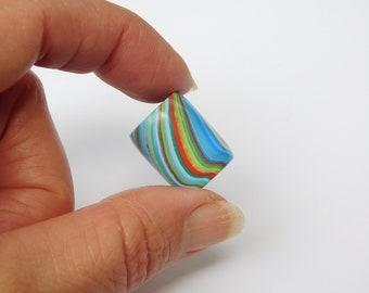 Dread Bead with 6 mm bead hole, polymer clay dreadlock bead